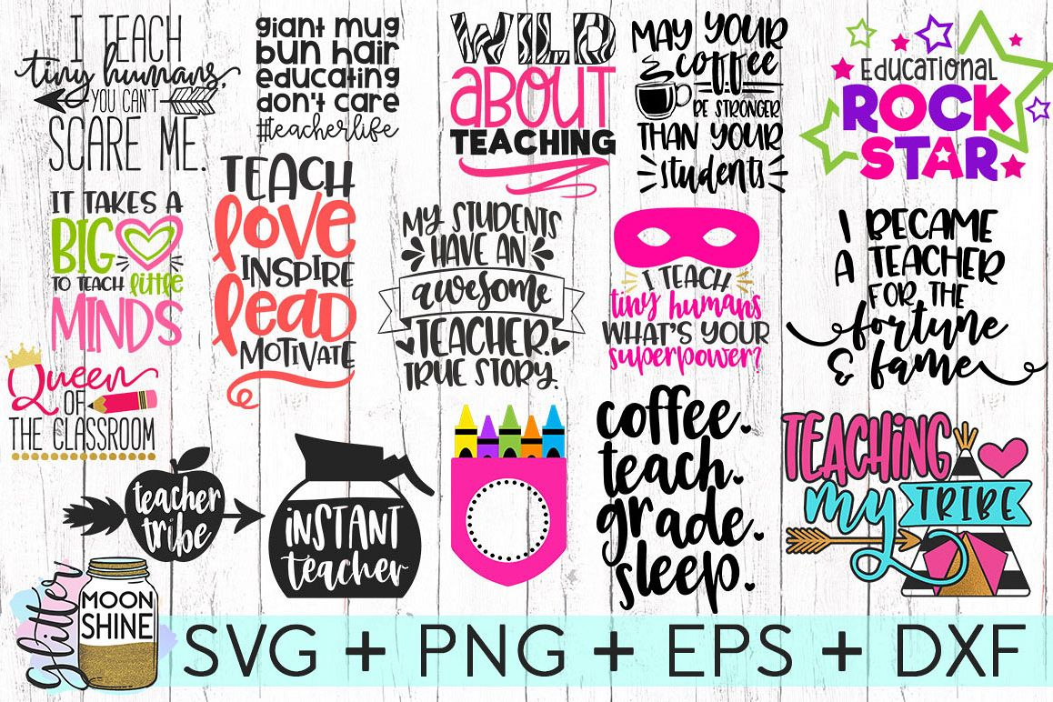 Huge Teacher Bundle of 16 SVG DXF PNG EPS Cutting Files example image 1