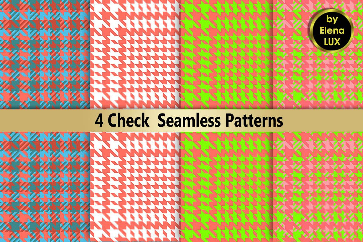 Houndstooth Seamless Pattern Set example image 1
