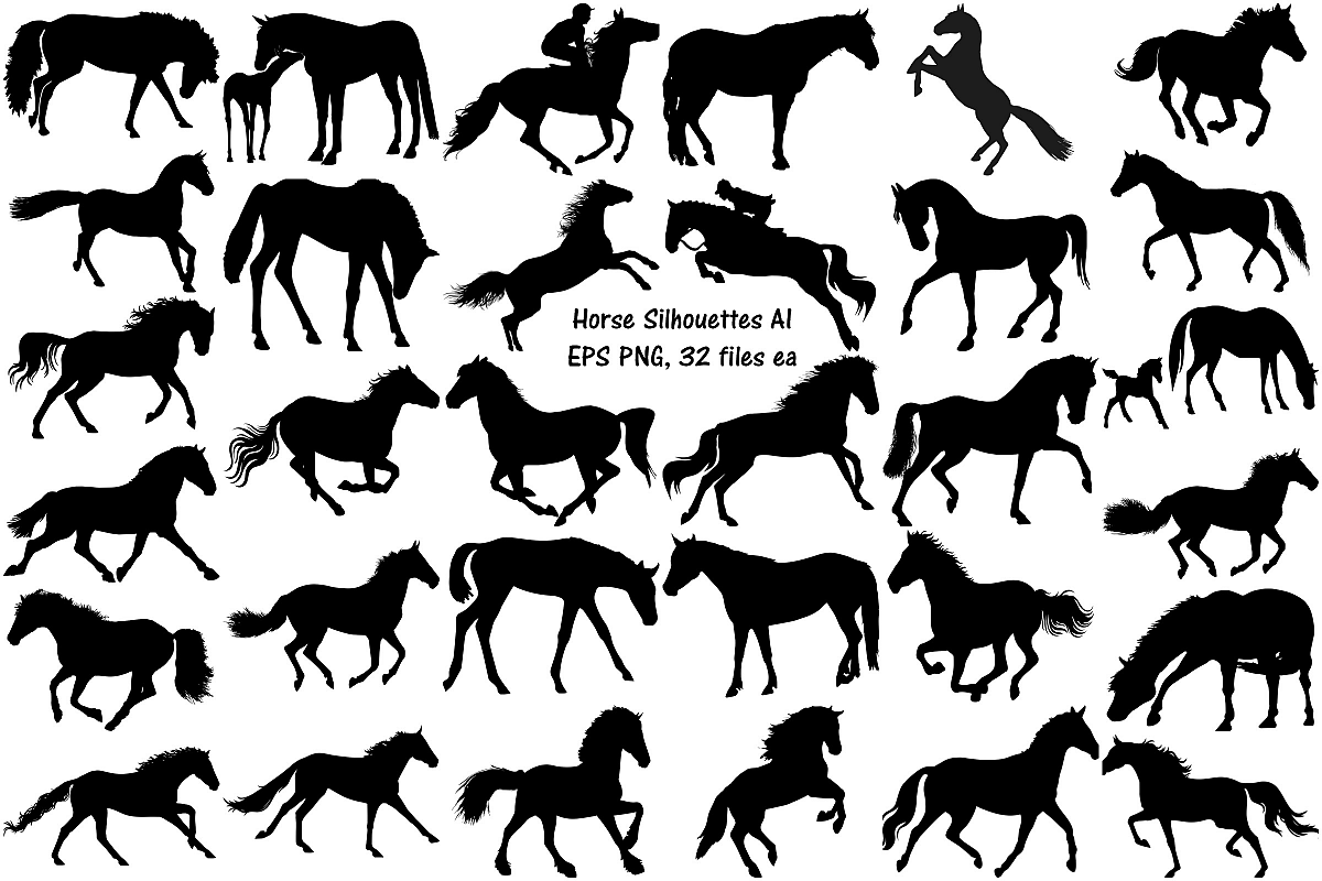 Horse Silhouettes AI EPS PNG example image 1