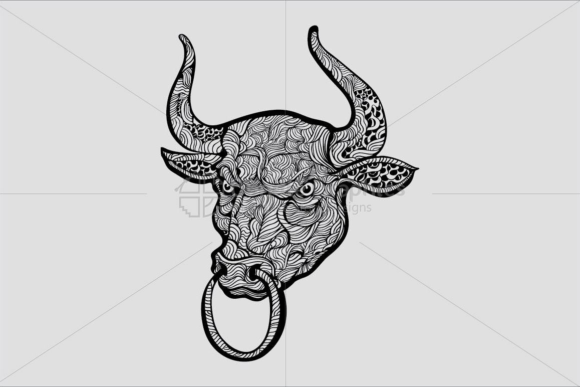A Bull - Linear Style Aggressive Animal  example image 1