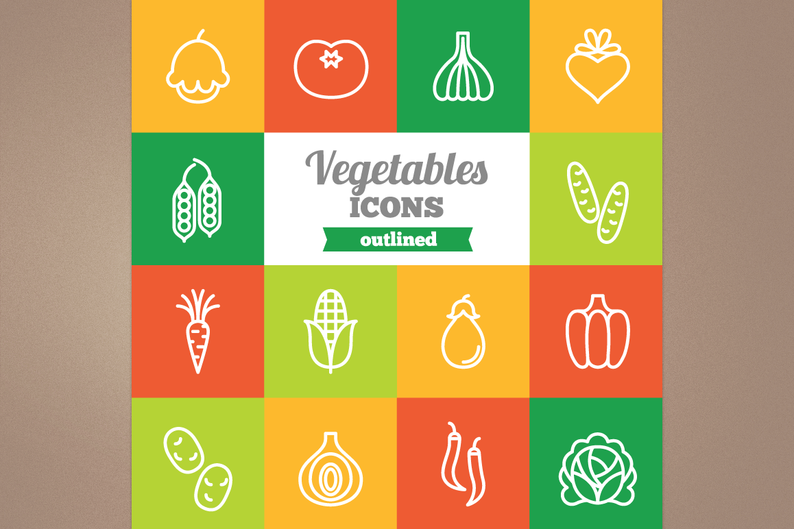 Outlined Vegetables Icons example image 1
