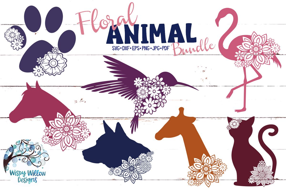 Floral Animal Bundle | Floral Animal SVG Cut Files example image 1