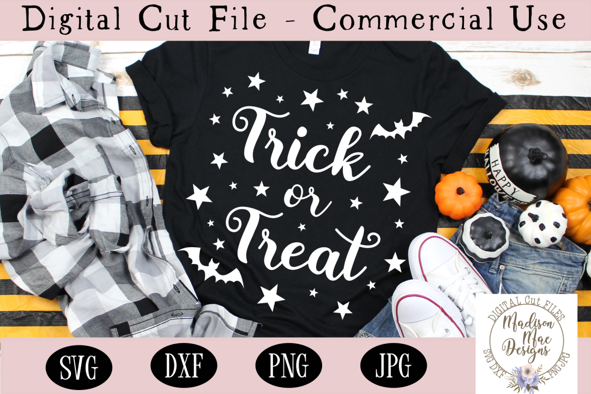 Trick or Treat SVG, Halloween SVG, Digital Cutting File example image 1