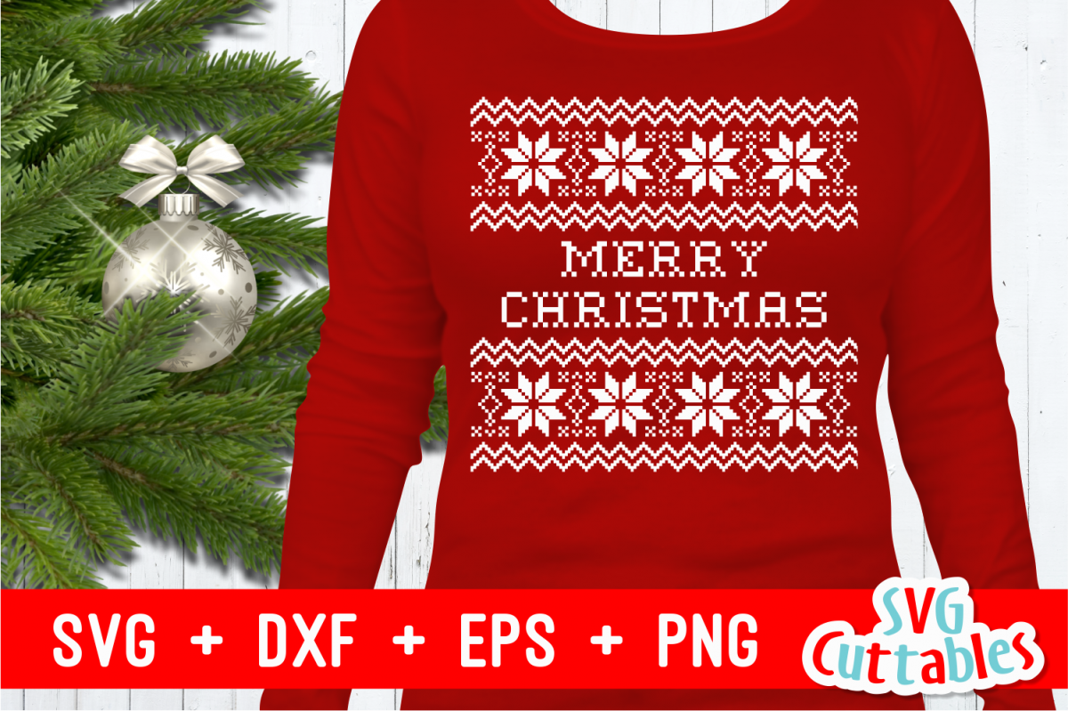 merry christmas sweater cut file example image 1