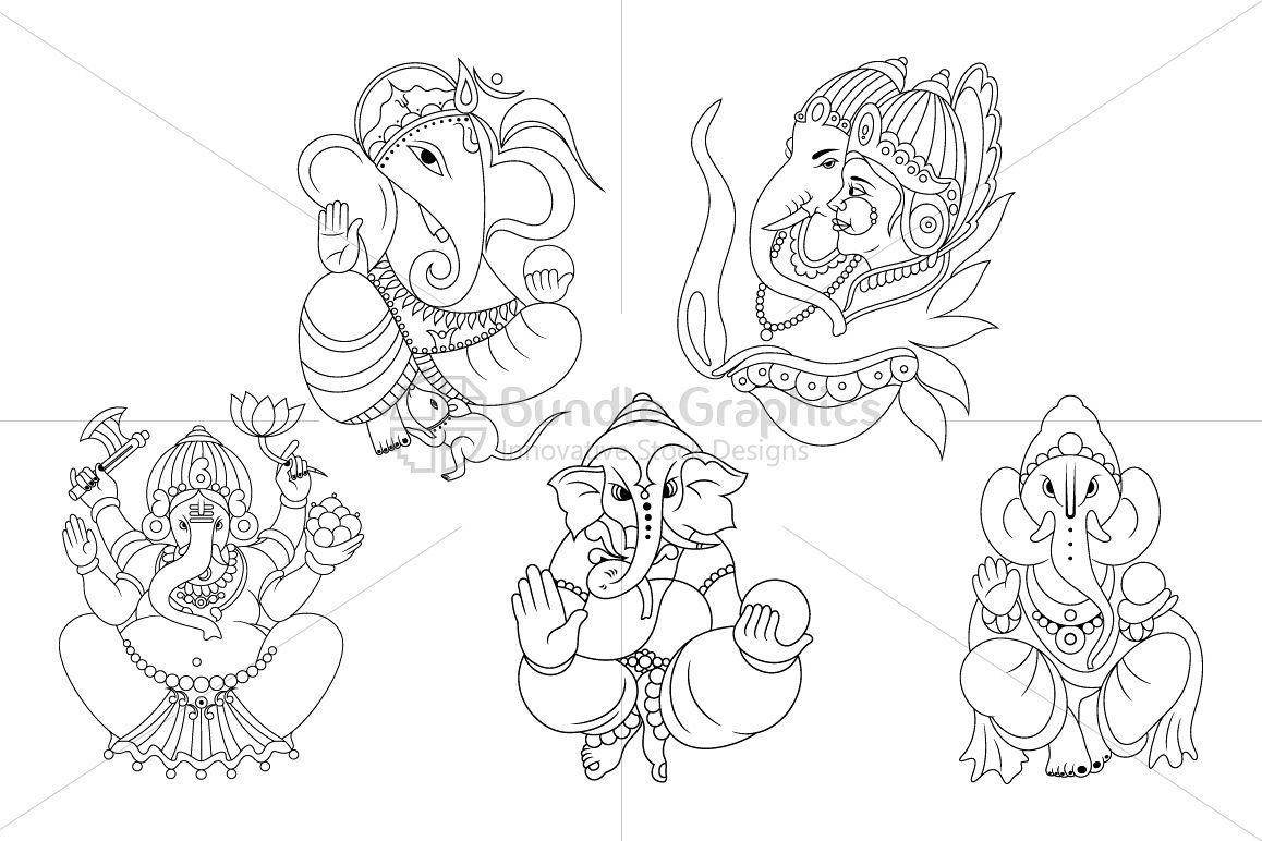 Ganesha - Indian Hindu God Illustrations Set example image 1