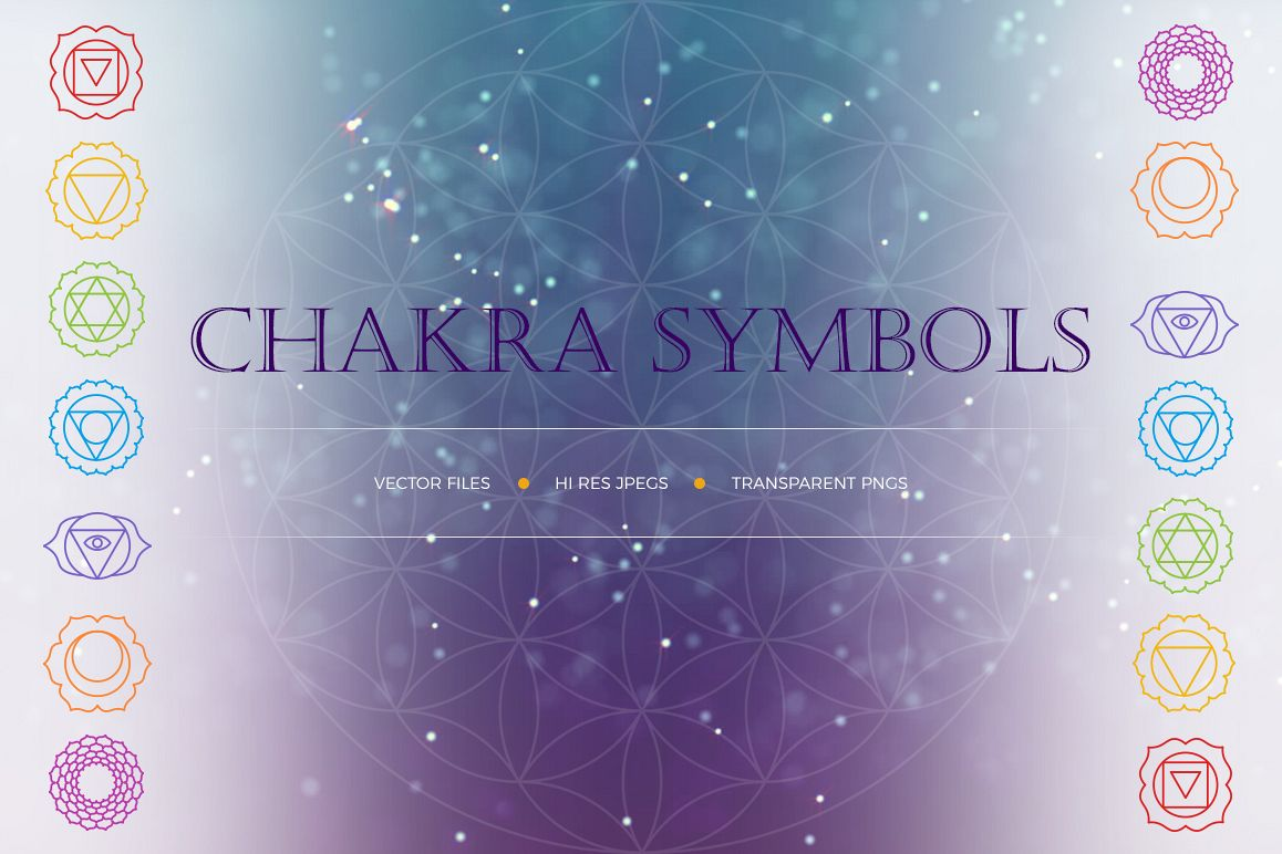 Chakra Symbols and Patterns Vector example image 1
