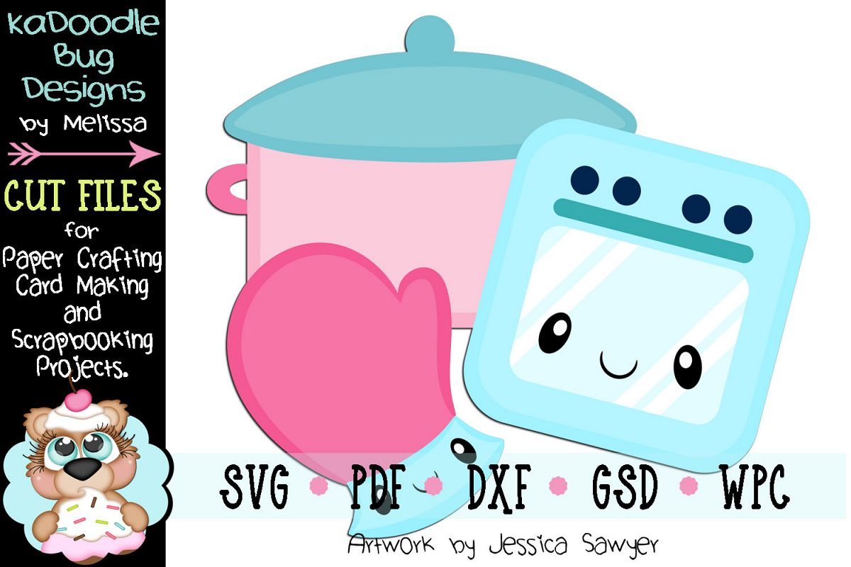 Kawaii Kitchen Oven Mitt Cut File - SVG PDF DXF GSD WPC example image 1