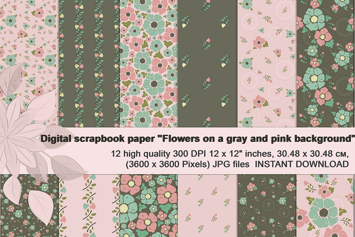 Vintage flowers, Gray and Pink Digital Paper example image 1