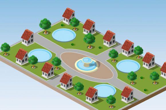 Isometric vector cityscape example image 1