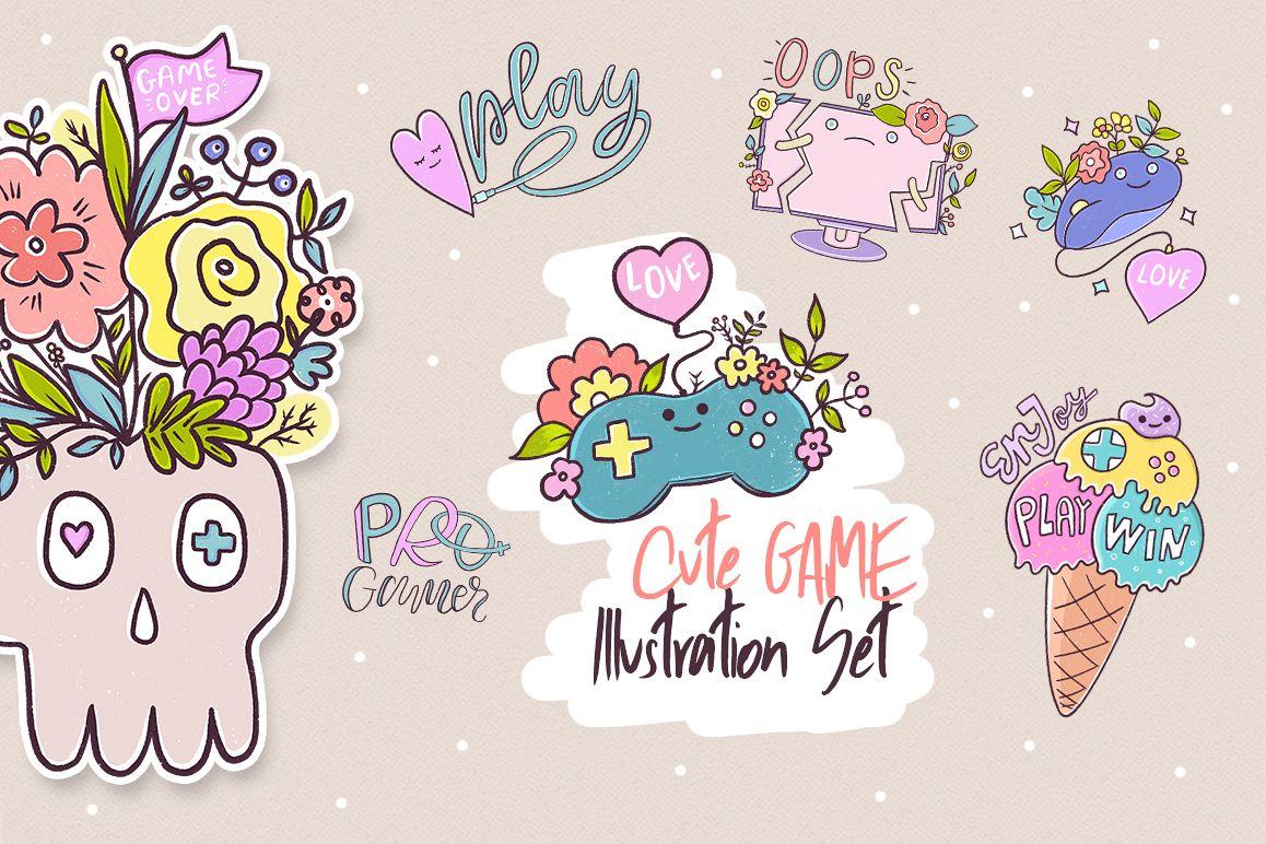 Cute Game. Illustration Set. example image 1