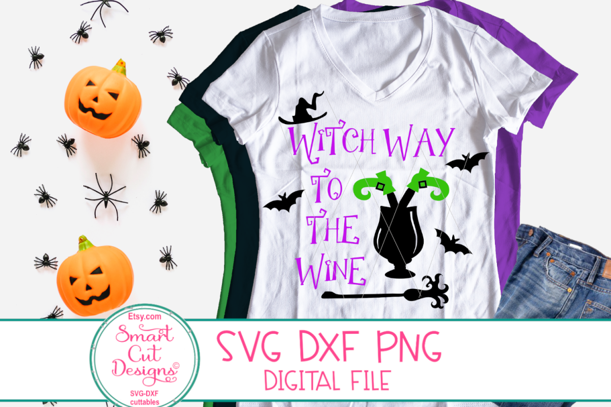 Witch Way To The Wine SVG, Adult Halloween SVG, Wine, Drink example image 1