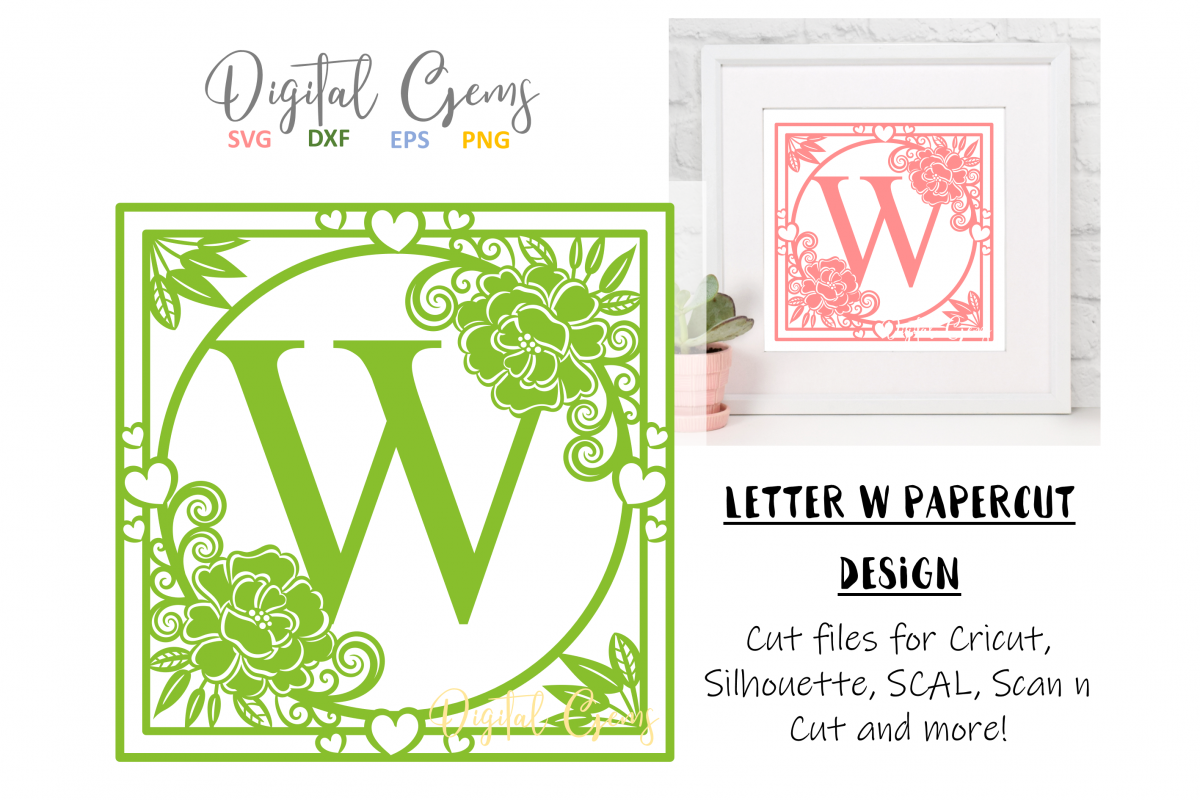 Letter W papercut design. SVG / DXF / EPS files example image 1