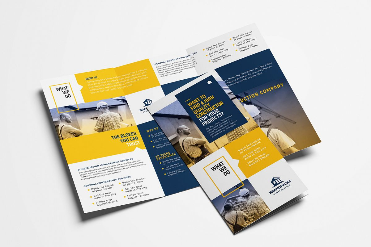 Construction Company Tri-Fold Brochure Template example image 1