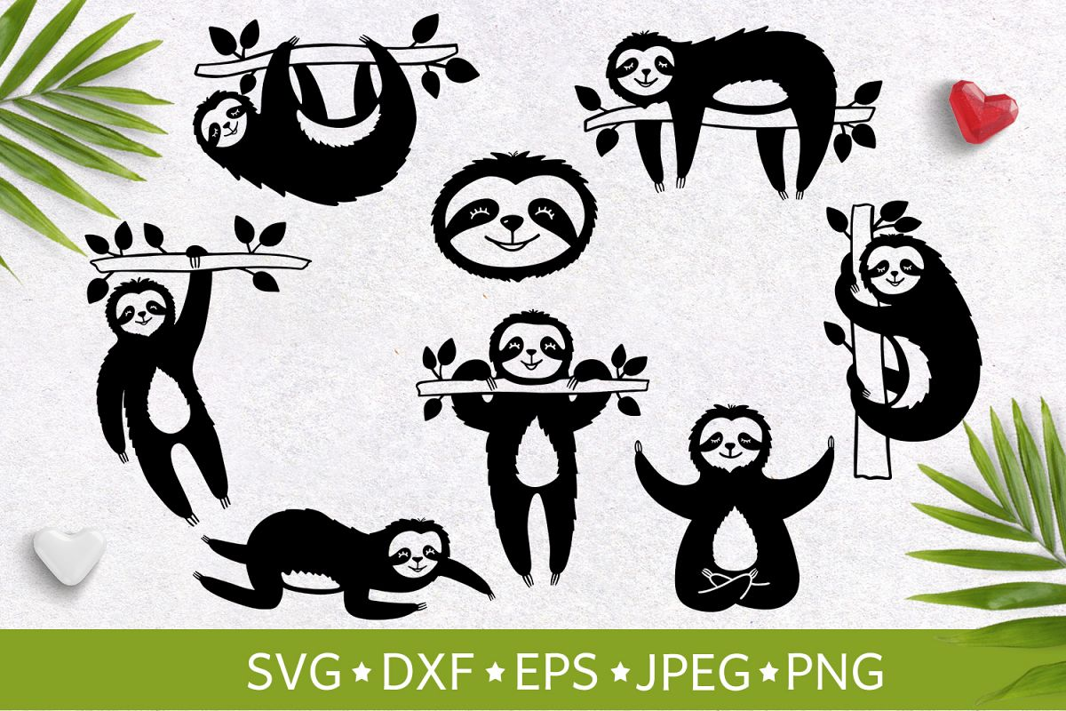 Set of handdrawn cute funny slothes. Vector illustration SVG example image 1
