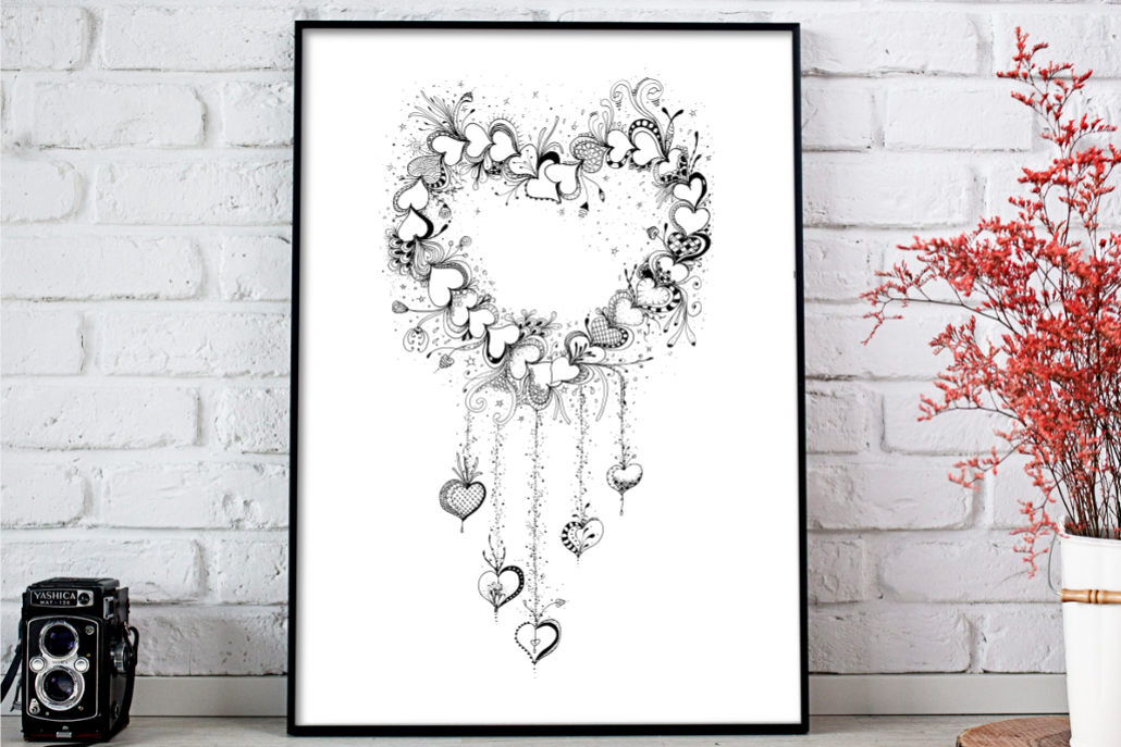 Doodle Heart Artwork, A1, SVG example image 1