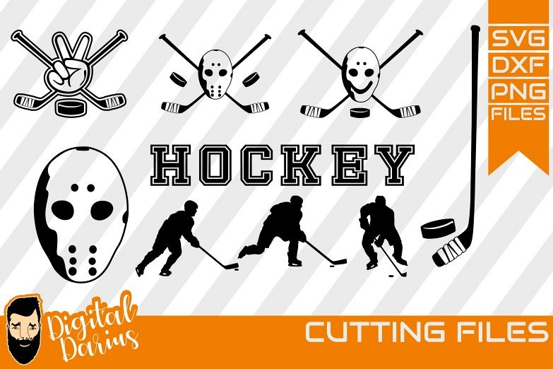9x Hockey Player SVG, Puck Svg, Hobby dxf, Sports, Circuit example image 1