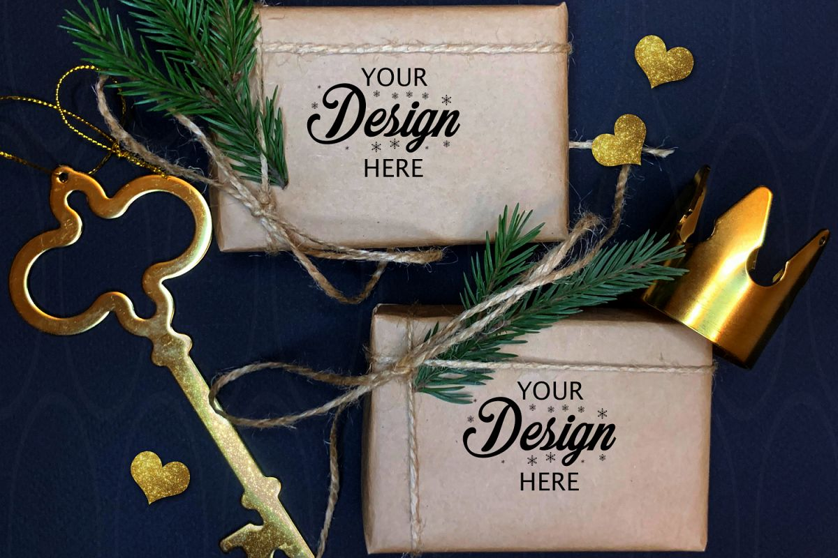 Gift Boxes Mockup Set Christmas gold decorations mock up example image 1