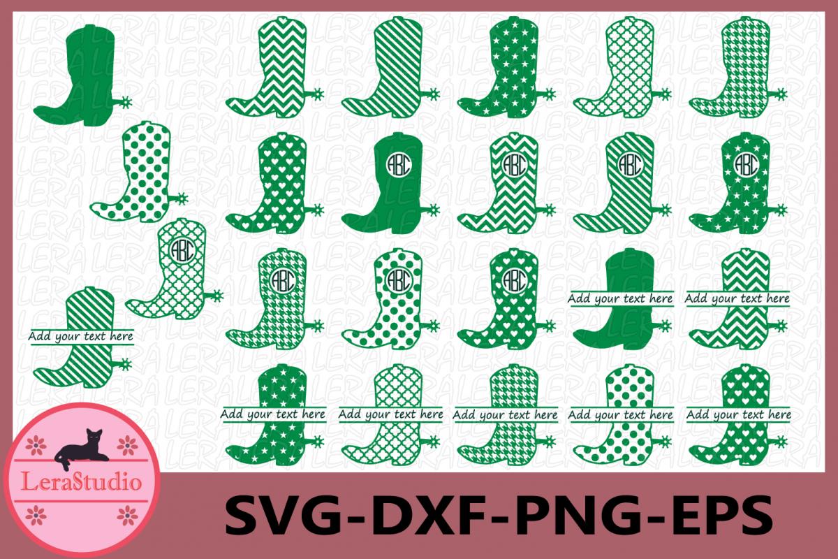 Cowboy Boot Monogram Svg, Cowboy SVG File, Cowboy Boot Cut example image 1
