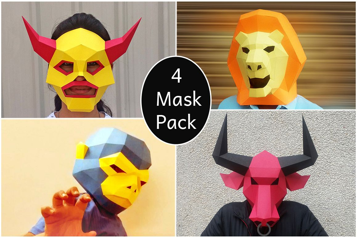 DIY Mask pack - 3d papercraft example image 1