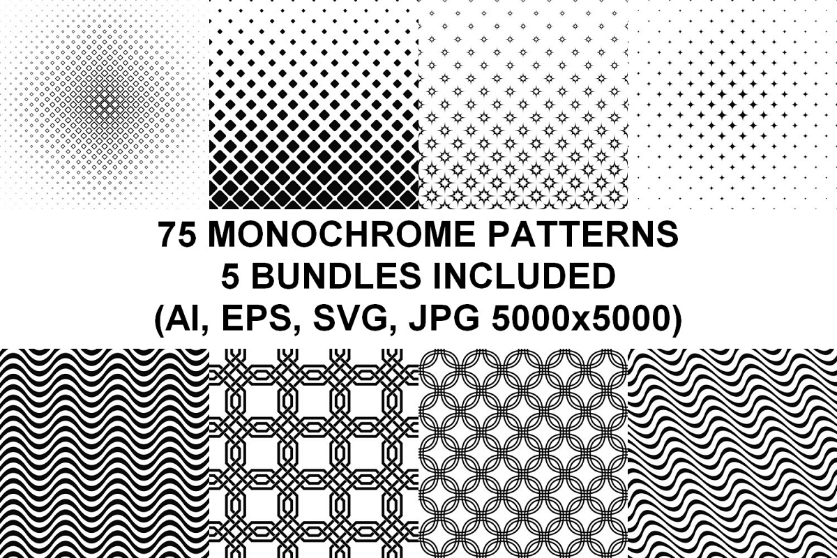 75 Monochrome Geometrical Patterns AI, EPS, JPG 5000x5000 example image 1