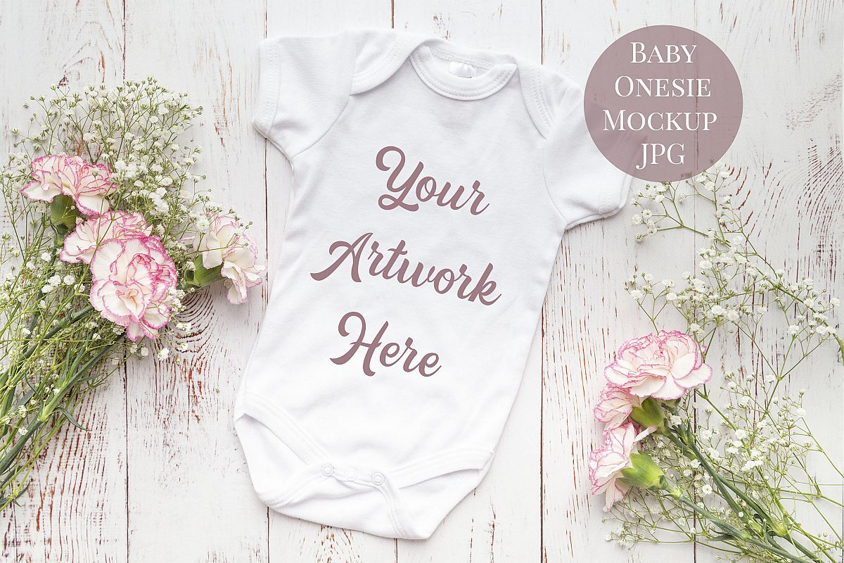 Onsie, Infant bodysuit Mockup, pink and white carnations example image 1