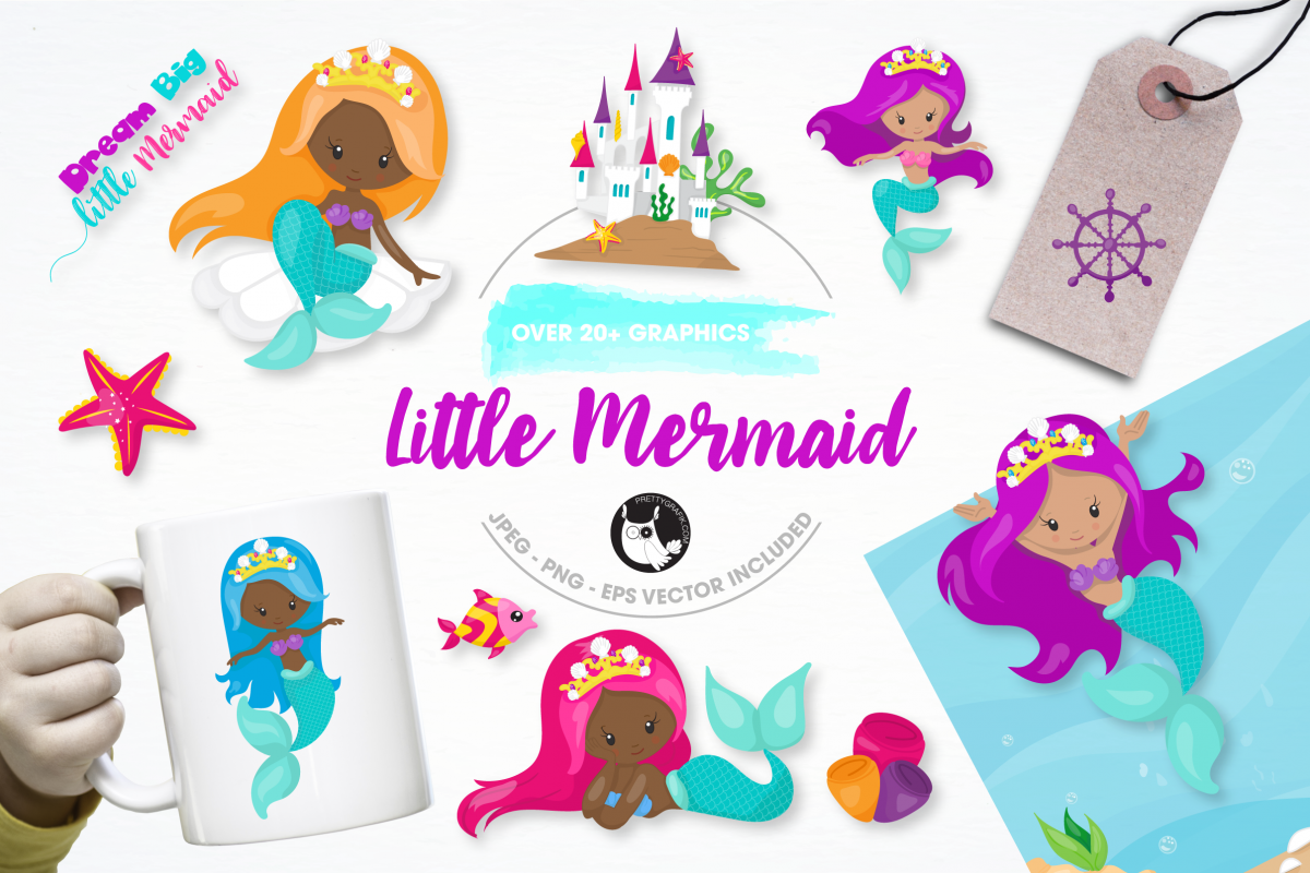 little mermaid graphics and illustrations example image 1