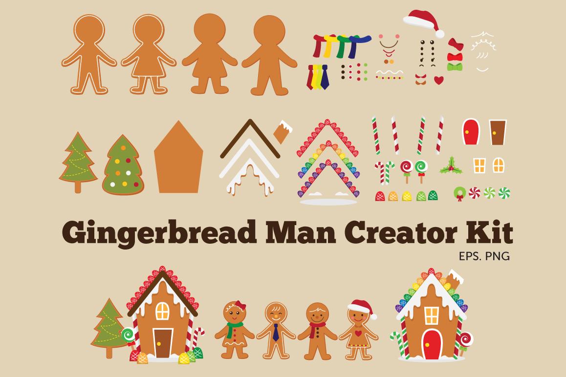 Gingerbread man creator kit clipart example image 1
