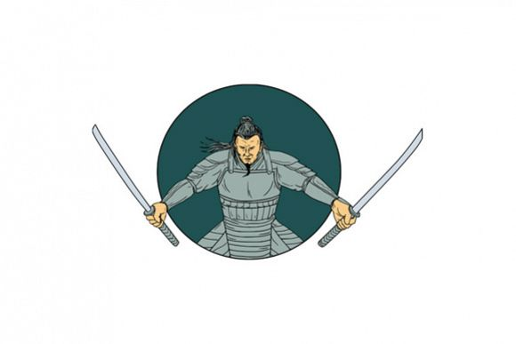 Samurai Warrior Wielding Two Swords Oval Drawing example image 1
