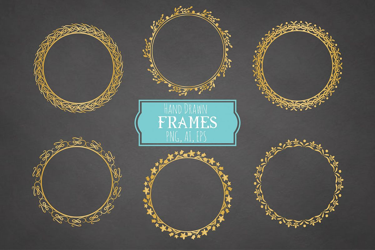 Hand Drawn Frames Vector + Png example image 1
