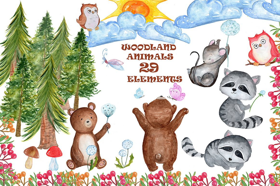 Watercolour forest animals clipart example image 1