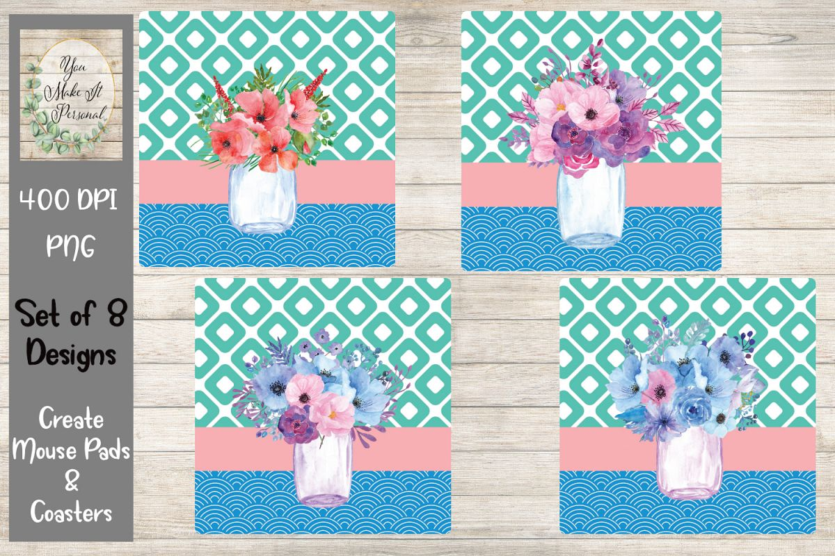 Floral Mason Jar- Mouse Pad and Coaster Bundle example image 1