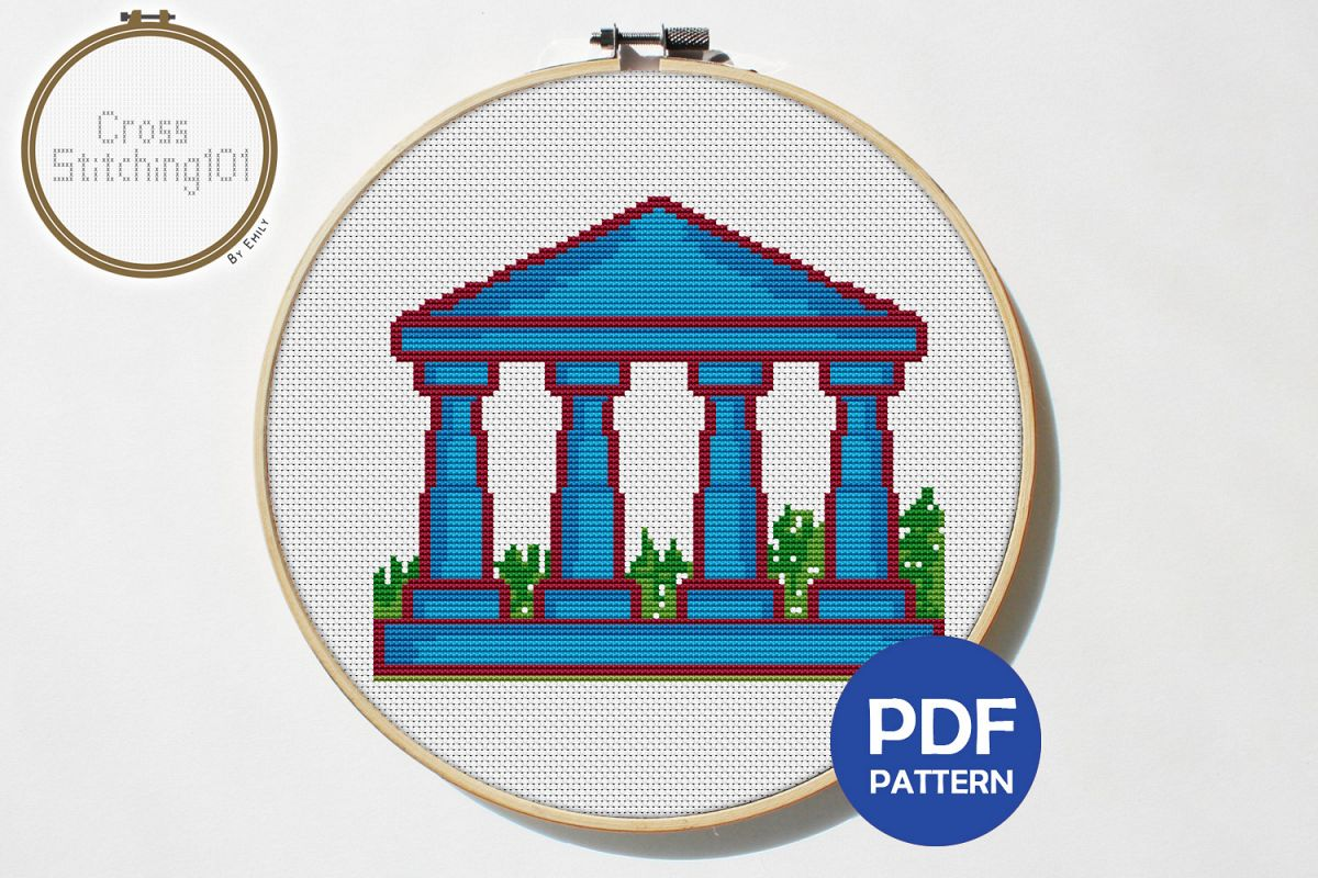 Building Pillars Cross Stitch Pattern - Instant Download PDF example image 1
