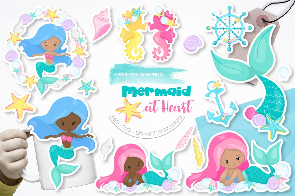 Mermaid at Heart graphic and illustrations example image 1