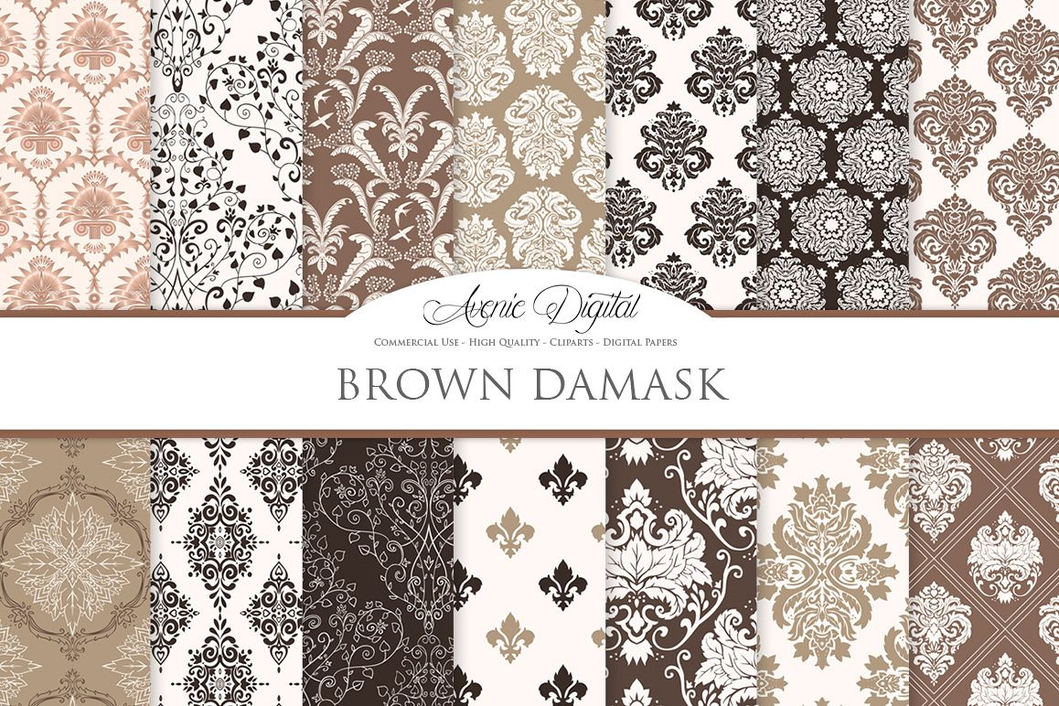 Brown Damask Patterns - Seamless Digital Papers example image 1