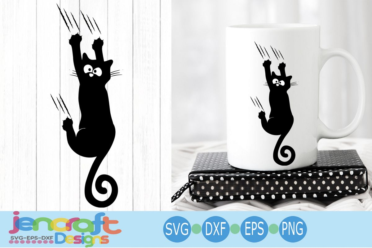Falling Black Cat svg, Hanging cat svg Funny Kitty example image 1