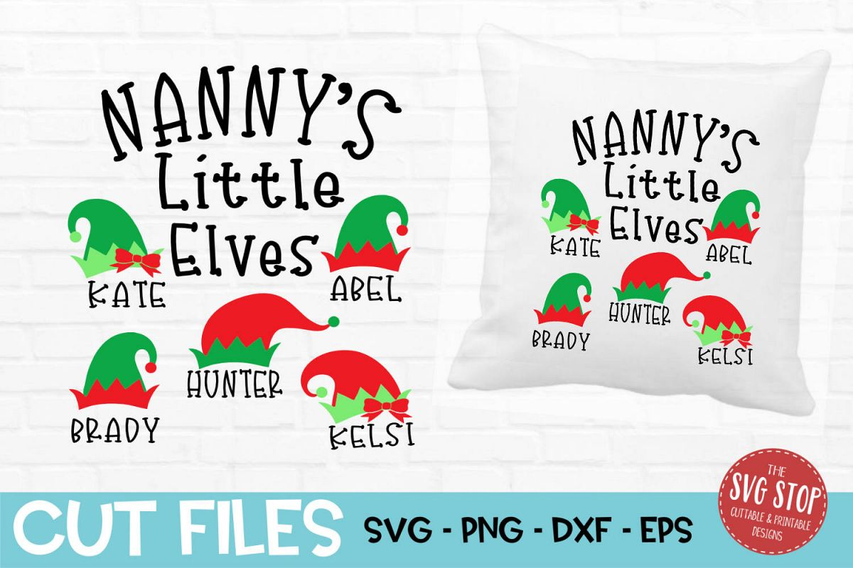 Nanny Little Elves Christmas SVG, PNG, DXF, EPS example image 1