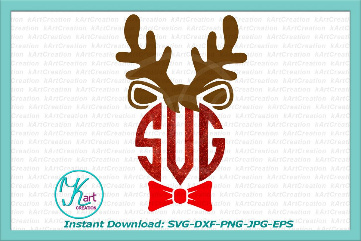 Baby boy Reindeer monogram svg, Christmas boy svg dxf png example image 1
