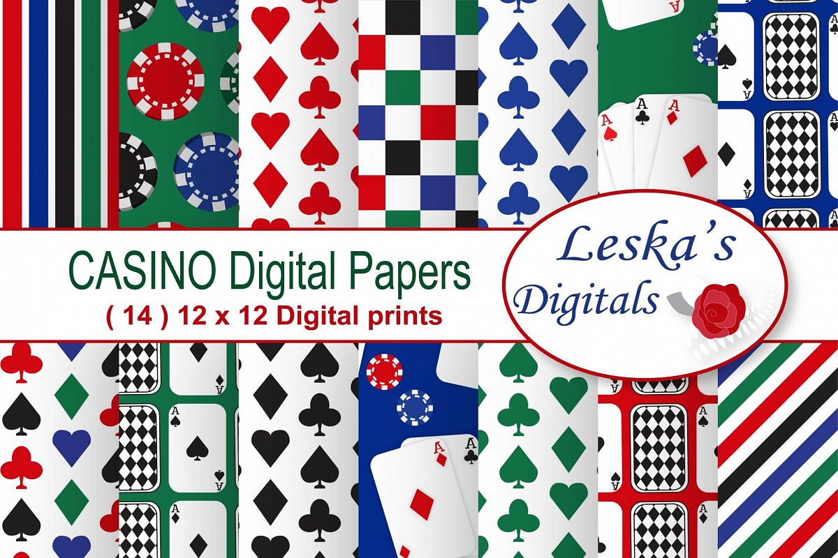 Casino Party Digital Paper - Card Playing Patterns example image 1