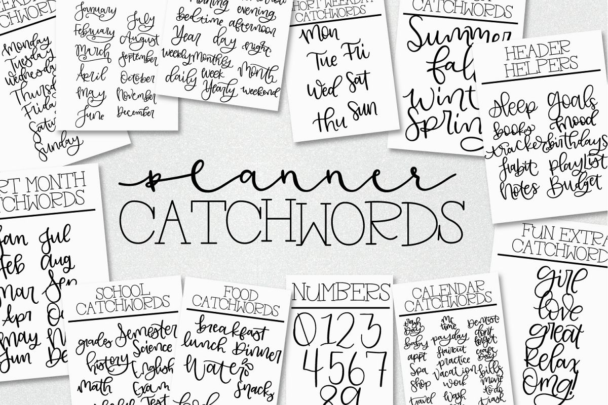 Planner Catchwords - Over 100 Catchwords In Font Form example image 1