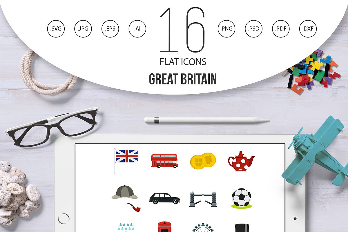 great britain icons set flat style by design bundles