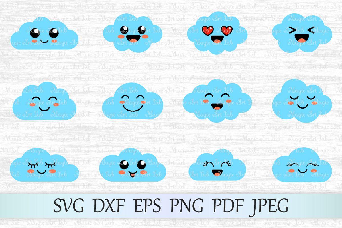 Cloud svg, Cloud clipart, Cute clouds svg file, Cloud emoji