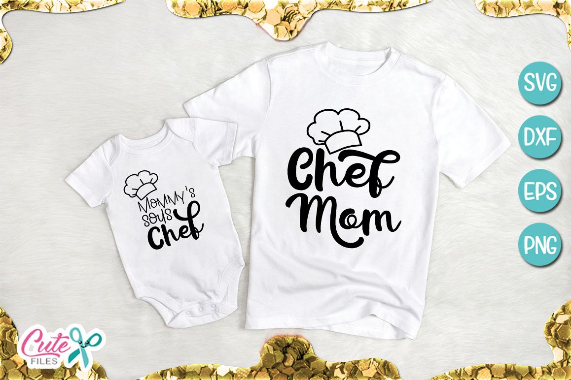 Chef mom and sous chef baby SVG cut file example image 1