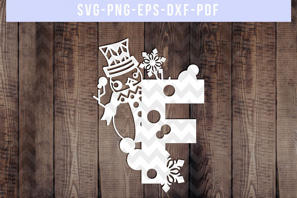 Snowman Font F Paper Cut Template, Winter Cutting SVG, DXF example image 1