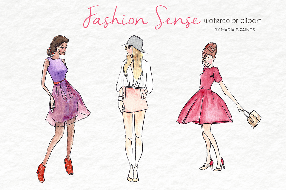 Watercolor Clip Art - Fashion Models example image 1