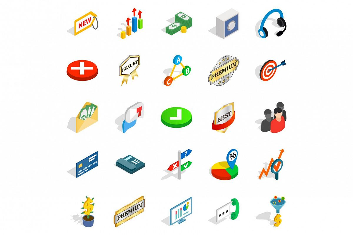 Finance center icons set, isometric style example image 1