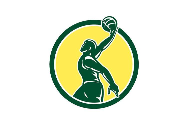 Basketball Player Dunk Ball Circle Retro example image 1