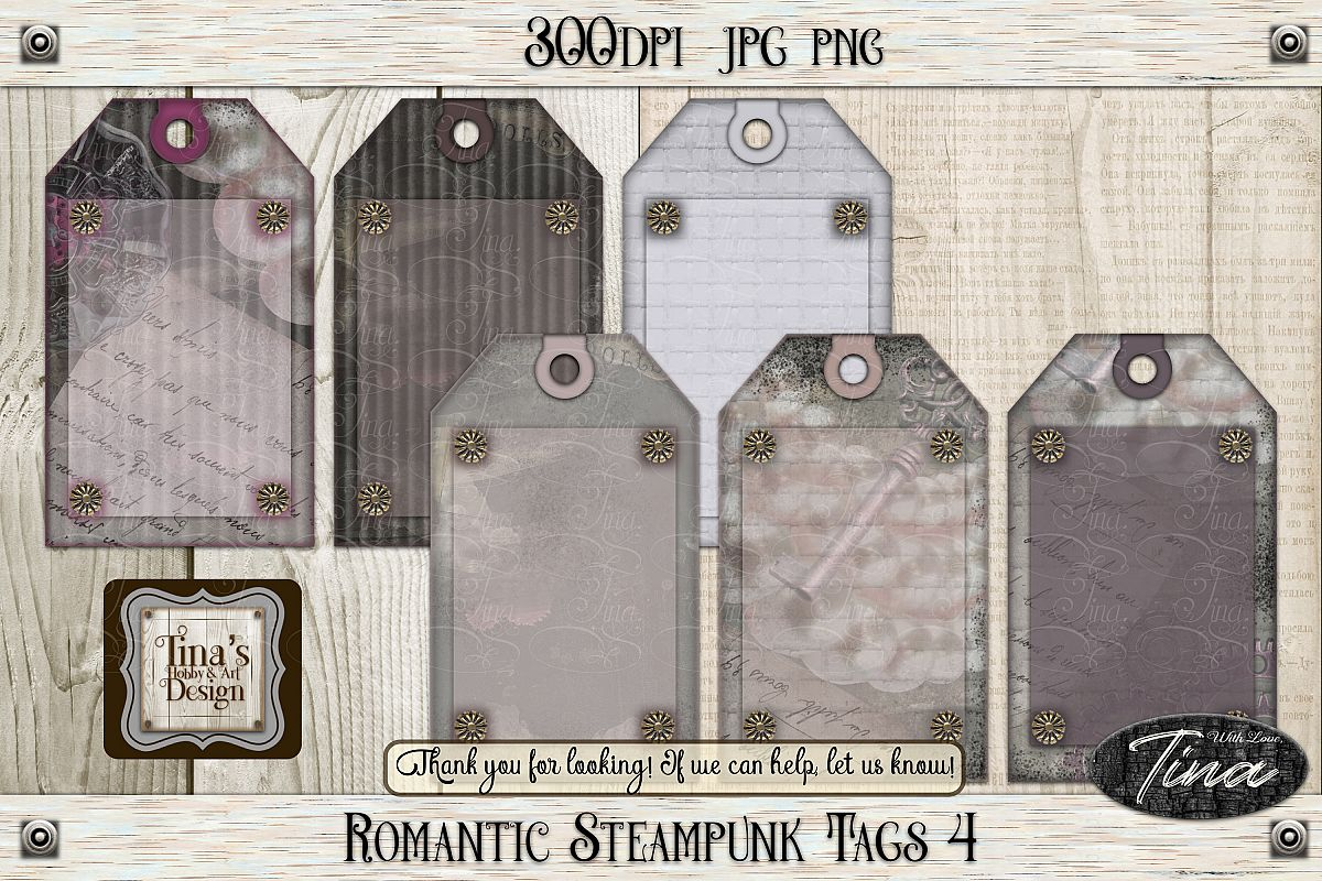 Romantic Steampunk Tags 4 Collage Mauve Grunge 101918RST4 example image 1