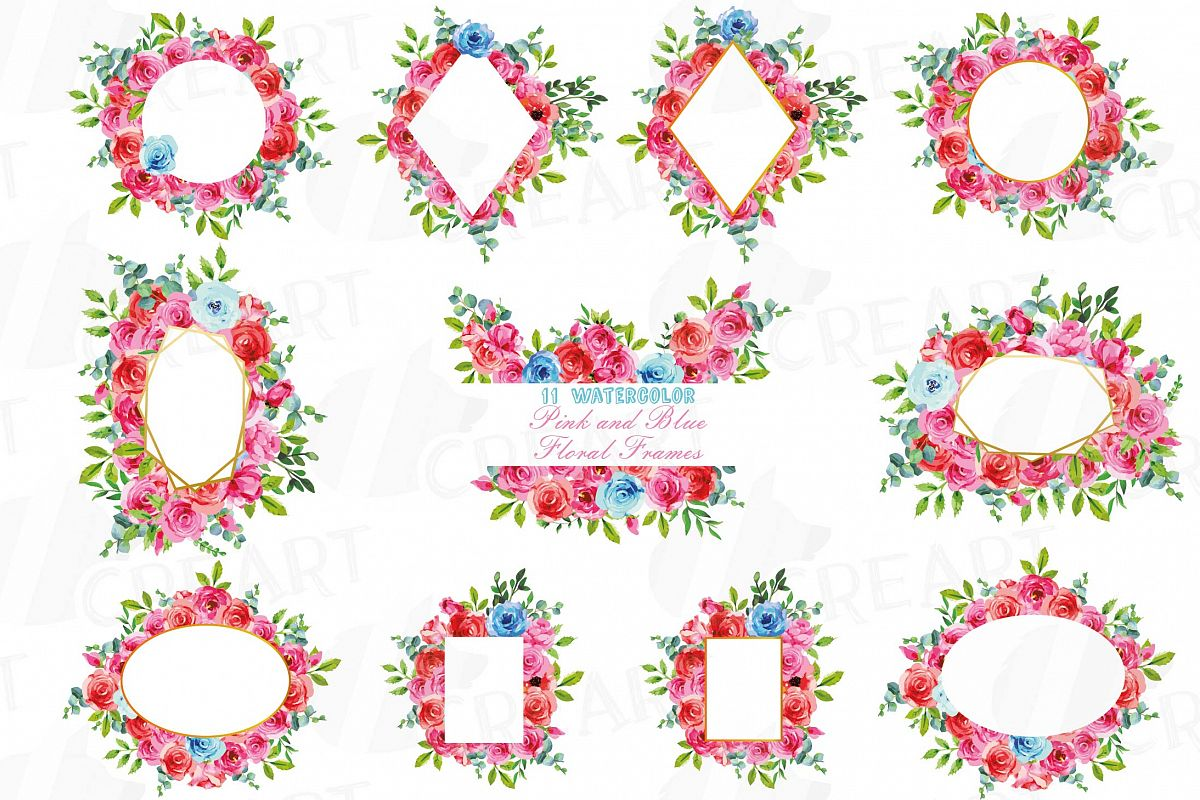 Boho pink and blue floral frames watercolor clip art pack example image 1