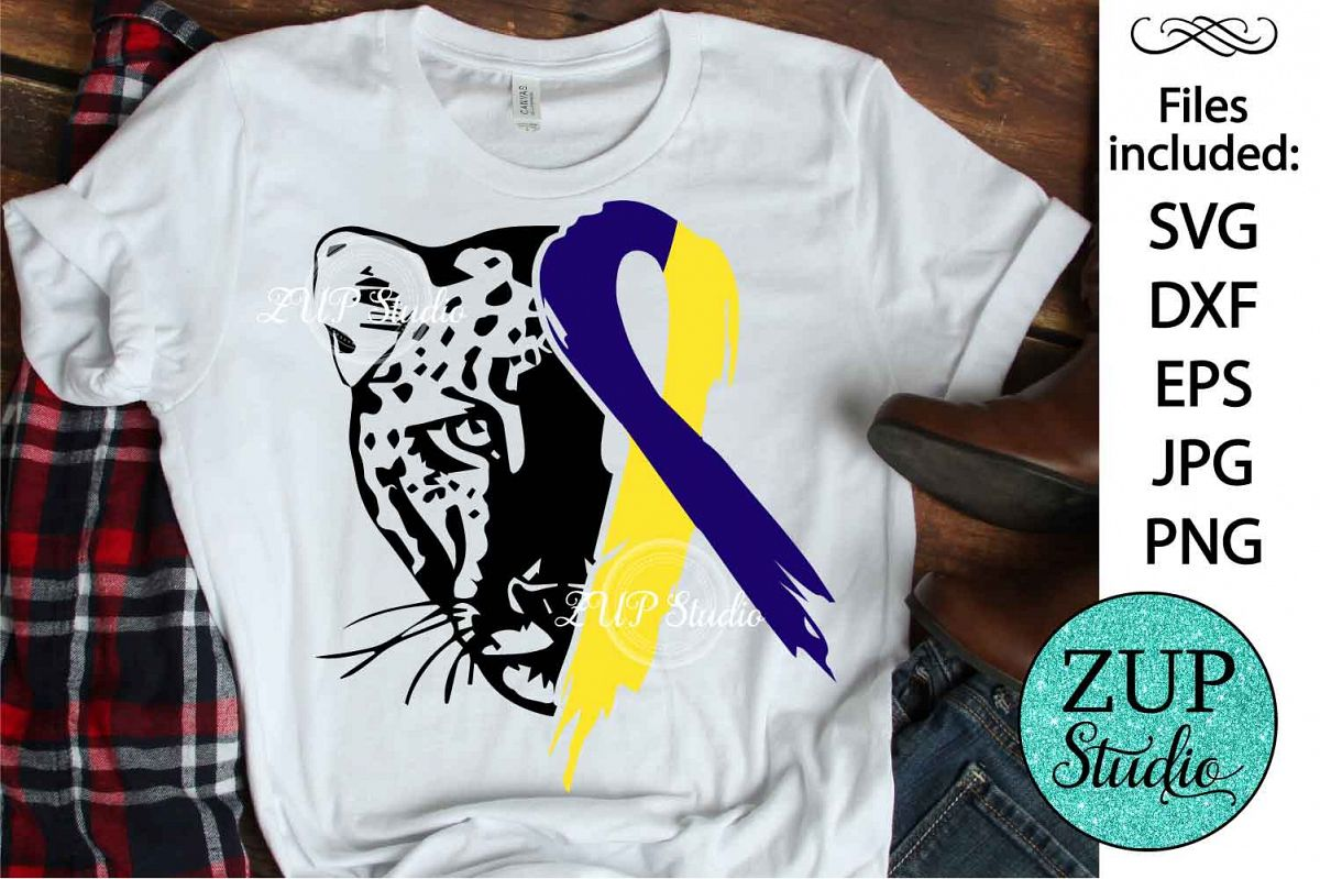 Leopard Face with Down Syndrome Ribbon svg design 481 example image 1