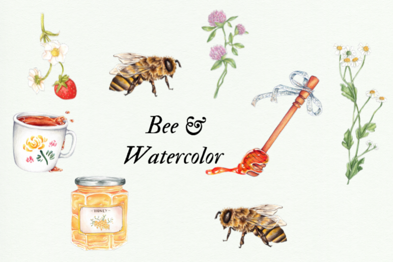 Watercolor Honey Clipart, Handpainted Bee Illustrations example image 1